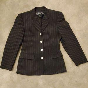Vintage Escada navy blue wool pinstripe blazer 38